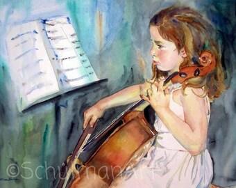watercolor painting | musical art | musical artwork | music artwork | music wall art | musical wall art | cello cellist musician | PRINT