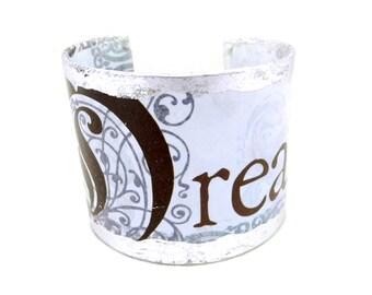 Bracelet Cuff, Cuff Bracelet, Wide Bracelet Cuff, Decoupage Bracelet, Decoupage Cuff, Blue Bracelet, Word Jewelry, Art Cuff, By Durango Rose