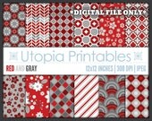 Red and Gray Digital Paper Pack Set Kit Digiscrap Background Pattern Design Dark Maroon White Grey Printable Commercial Use