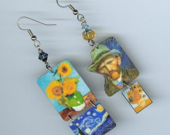 Vincent Van Gogh Earrings – fine art lovers artist gift - asymmetrical mismatched Designs by Annette - sunflowers starry night self portrait