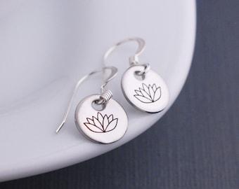 Lotus Earrings, Short Earrings, Simple Earrings, Yoga Earrings, Silver Lotus Jewelry
