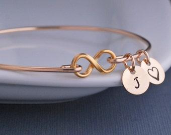 Gold Infinity Bracelet, Infinity Symbol Jewelry, Gold Infinity Bracelet, Gold Bangle Bracelet