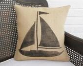 Sail Away - Sailboat  Burlap Pillow - Nautical Pillow  - Sailboat Pillow