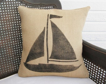 Sail Away - Sailboat  Burlap Pillow - Nautical Pillow  - Sailboat Pillow