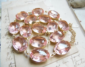 Light pink necklace, pink sapphire necklace, pink statement necklace, rhinestone necklace, Georgian jewelry, Edwardian necklace.