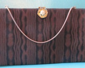 Vintage HL Purse Brown Wood Grain Optical Art Fabric Handbag Harry Levine Designer