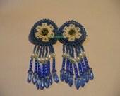 Native American Style Blue flower rosette earrings