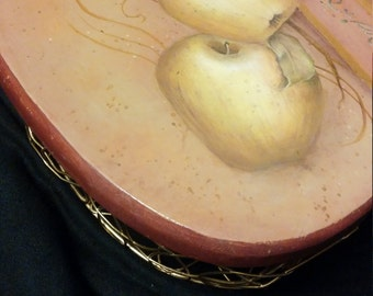 Painted Apple Design on Apple Shaped Wire Basket