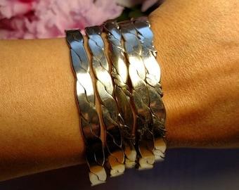 1960s Vintage Silver Plate Mexican Bangle Bracelet Set Lot Boho Mexico Stackable Estate Jewelry