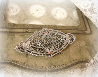 antique silver lace filigree brooch circa 1920s bright rhodium plated delicate filigree with traces of enamel
