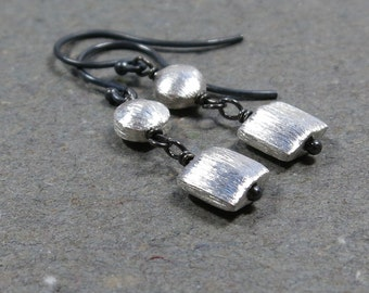 Sterling Silver Earrings Brushed Silver Beaded Dangle Earrings