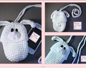 Bunny Pouch crocheted, Camera, Phone, Bottle Cozie READY to SHIP, Easter