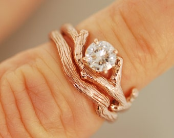 Rose Gold Branch Bud with 5 mm moissanite, alternative wedding ring, twig ring, twig engagement ring, rose gold ring