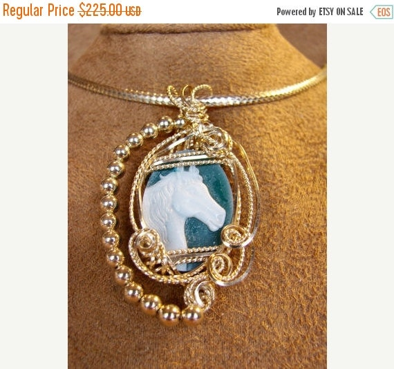 SRAJD End of Summer Sale Green Agate Cameo Set in 14K Rolled Gold Pendant