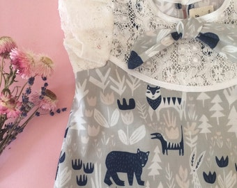 READY TO SHIP Lovely creatures organic cotton baby toddler child dress Supayana
