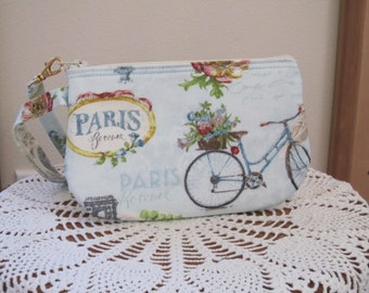 Shabby Chic Clutch Wristlet Zipper Gadget Pouch Smart Phone Bag in Bicycles in Paris