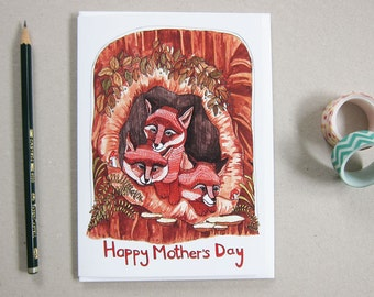 Mother's Day Card - Gift for Mom - Fox Mother's Day Card - Card for Mom - Blank Card - Blank Greeting Card - Fox Illustration - Fox Family