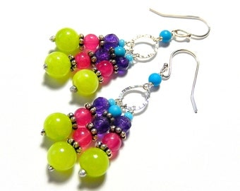 Colorful Chandelier Earrings, Boho Beaded Earrings, Neon Jade, Sterling Silver, Bright Bohemian Dangles