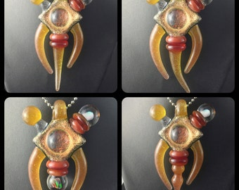 Orange Crush Glass 3 Part Magnetic Opal Pendant Perfume Dabber Detachable Bead Dichroic Compass #11 -Dan Rushin