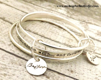 personalized bangle-bangle bracelet- stacked bangles- personalized stacking bangles- personalized bracelet- mothers bracelet-bangle