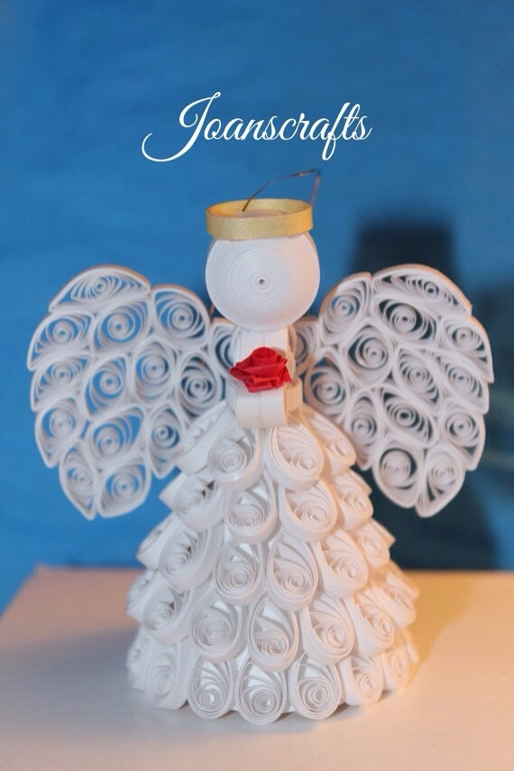 Quilled Angel Ornament with a Rose