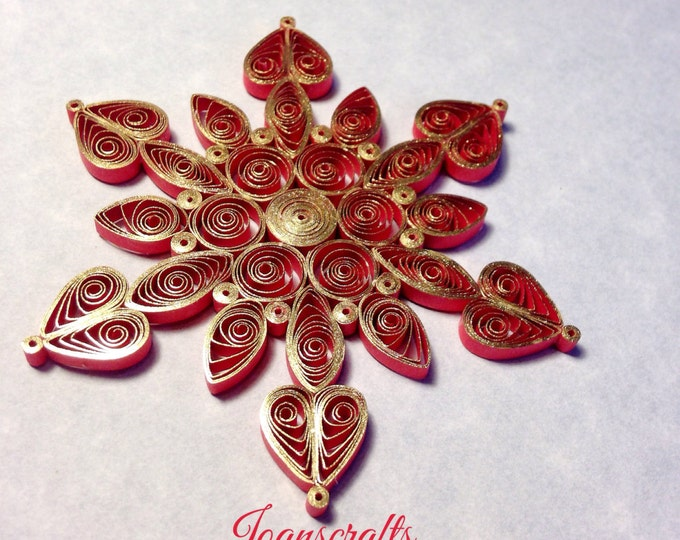 Glistening Gold on Red Quilled Snowflake Ornament