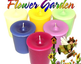 6 Flower Garden Votive Candles Variety Package Spring Floral Scents