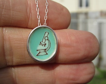Microscope Necklace - Sterling Silver and Vitreous Enamel Science Pendant