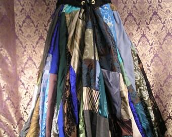 """FOR JESSICA, Custom Patchwork Full Length """"Good Earth"""" Elastic-Waisted Scrap Skirt"""