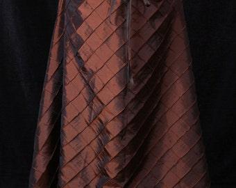 Dark Copper Pintuck  Swagger Skirt-Adjustable and Versatile