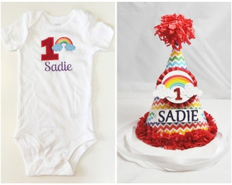 Rainbow Party Hat & Bodysuit Shirt Set- Girl 1st Birthday