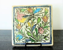 SALE Antique Persian Ceramic Handpainted Tile With Bird and Colorful Flowers,Middle Eastern art,Architectural Piece, Qajar tile,Islamic Art