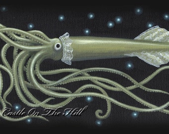 Deep Sea Giant Squid painting - 8 x 10 print