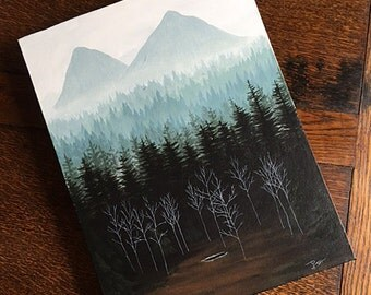 "Twin Peaks Glastonberry Grove - Original 12"" x 16"" acrylic painting"