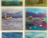 Set of Six Square Printed Greetings Cards Blank