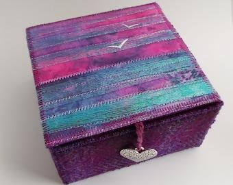 Handmade Box Textile Seascape and Harris Twwed