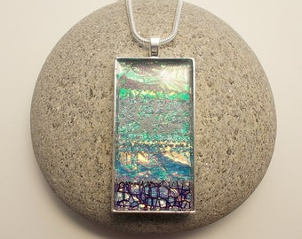 Necklace Textile and Glass Turquoise and Purple