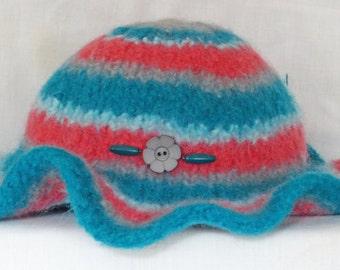 Happy Hat 100% wool handmade felted floppy brimmed hat, so warm