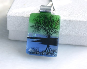 Dichroic Fused Glass Pendant Necklace Jewelry Refection Tree 001183