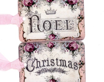 Christmas Gift Tags , Pink French Christmas , Noel Tags ,  Rustic Christmas , French Country Style , Shabby Christmas , Pink Christmas