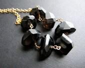 Hillary. Luxe Smoky Quartz Necklace, 14K GF Necklace, Elegant Dark Gemstone Jewelry