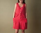 red polka dot romper / 80s short jumpsuit / vintage 80s playsuit / s / 1679d