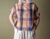 to the wonder plaid cotton gauze boxy top / cropped top / 80s blouse / s / 1378t