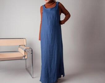 tanglimara navy blue linen maxi dress / oversized dress / minimalist dress / s / m / 1348d