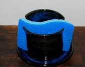 Cobalt Blue Sponge or ipad Holder Stoneware Clay Pottery Ready to Ship
