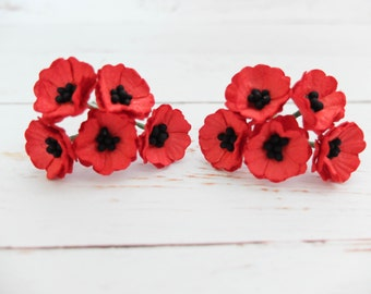 10 red paper poppy - red paper flowers - red mulberry paper flowers