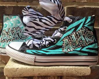 Customized Converse, Kids Custom Converse, crystallized kicks, Painted Converse, Converse, Turquoise and Black, Personalized, BLING Shoes