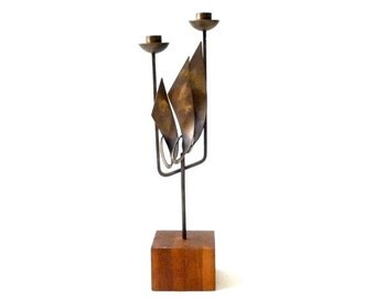SUMMER SALE Modernist Copper Candelabra by Maxwell Chayat
