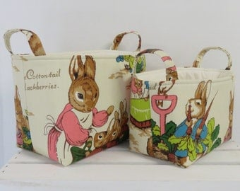 Set of 2 Nesting - Fabric Organizer Storage Container Bins - Vintage Peter Rabbit Beatrix Potter Fabric