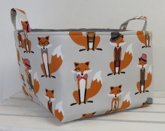 Large Diaper Caddy - Storage Bin Basket Container Organizer with divider - Fox and the Houndstooth